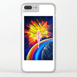 Dancing on the rainbow Clear iPhone Case