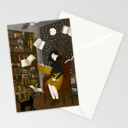 floating books Stationery Cards