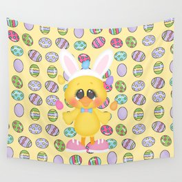 Easter Chick with Bunny Ears Wall Tapestry