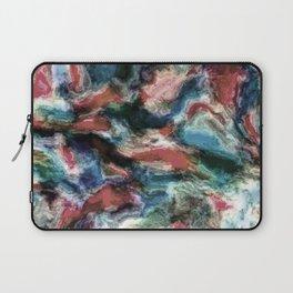 Teal Blue Coral Red Watercolor Swirls Art Pattern Laptop Sleeve