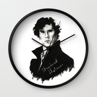 sherlock holmes Wall Clocks featuring Sherlock Holmes by StarshipRanger