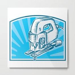 Jigsaw Power Tool Woodcut Retro Metal Print