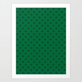 Black on Cadmium Green Snowflakes Art Print