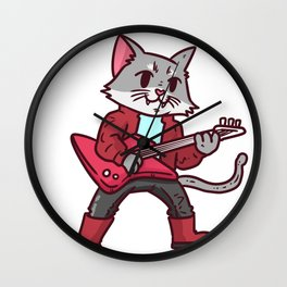 Guitar cat Wall Clock