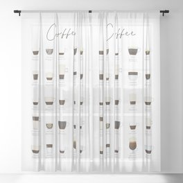 Coffee Types Sheer Curtain