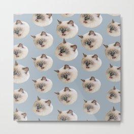 cute animal pattern beige birman cat Metal Print