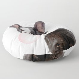 French Bulldog Puppy Blowing Pink Bubble Gum (sw) Floor Pillow
