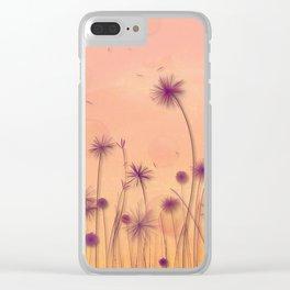 Dreamy Violet Dandelion Flower Garden Clear iPhone Case