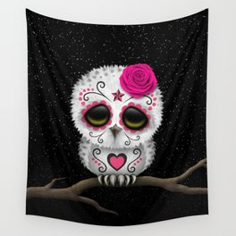 Adorable Pink Day of the Dead Sugar Skull Owl Wall Tapestry