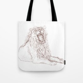 Back Off, Please in Rose Gold | Lion Drawing Tote Bag