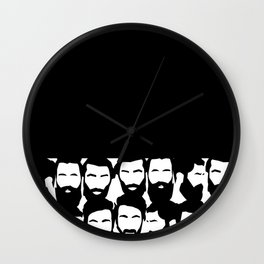 black n white beard Wall Clock