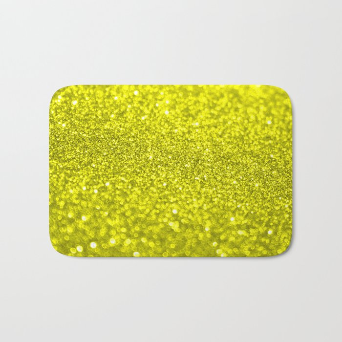 Bright Yellow Glitter Bath Mat