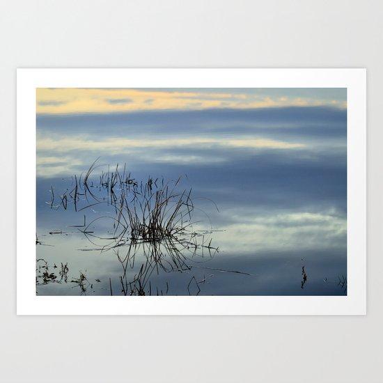 Blue graphics reflections Art Print