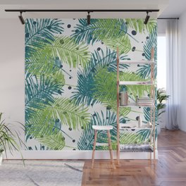 Ferns and Dots Wall Mural