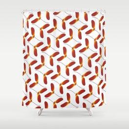 Red Japanese Maple Tree Samara Zigzag Pattern With Alternate Orientation Shower Curtain