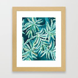 SANTA CRUZIN' Navy Tropical Palm Leaves Framed Art Print