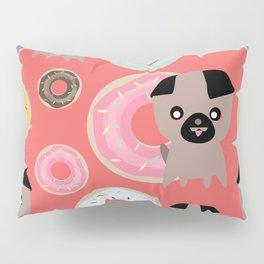 Pug and donuts orange Pillow Sham