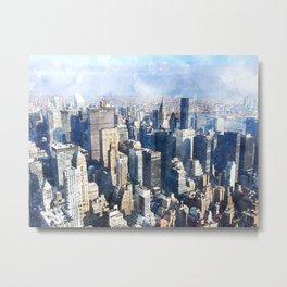 New York City, Manhattan Watercolor Cityscape Metal Print