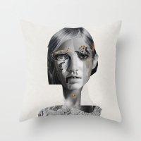 lara croft Throw Pillows featuring Lara by Zaneta Antosik