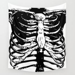 Skeleton Ribs | Black and White Wall Tapestry
