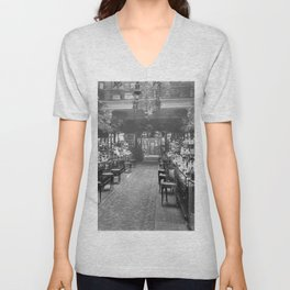 1919 Harrods Department Store, London, England Perfume Counter Vintage black and white photograph / art photography Unisex V-Neck