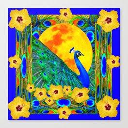 YELLOW HIBISCUS FULL GOLDEN MOON  BLUE PEACOCKS Canvas Print