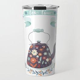Tea Time Floral Tea Kettle Travel Mug