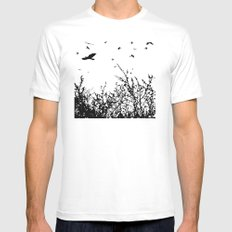 Flock of Birds Mens Fitted Tee White MEDIUM