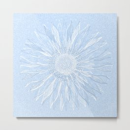 Mandala, Sunflower Prints, Sky Blue Metal Print