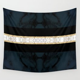 Midnight Blue Marble with Gold Glitter Ribbon Wall Tapestry