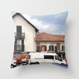 Market Day in the Basque Country Throw Pillow