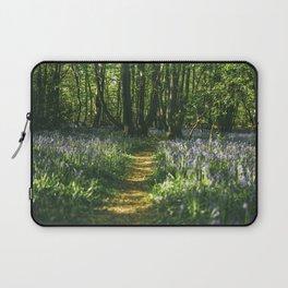 Path through wild Bluebells in ancient woodland. Wayland Wood, Norfolk, UK. Laptop Sleeve
