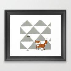 Mr Fox in grey Framed Art Print