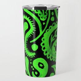 Handpainted Paisley Pattern Aqua and Green Color Travel Mug