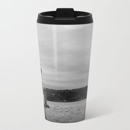 Black and White Breakwater Lighthouse Travel Mug