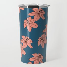 Lily The Tiger - Peach Blue Travel Mug