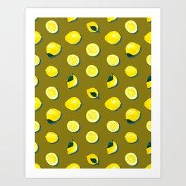 60s Lemon Pattern on Olive Art Print