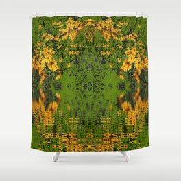 GREEN YELLOW RUDBECKIA DAISIES WATER REFLECTIONS Shower Curtain