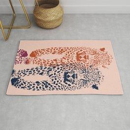Kitten Club - Navy, Orange & Purple Leopard Print by Kristen Baker Rug
