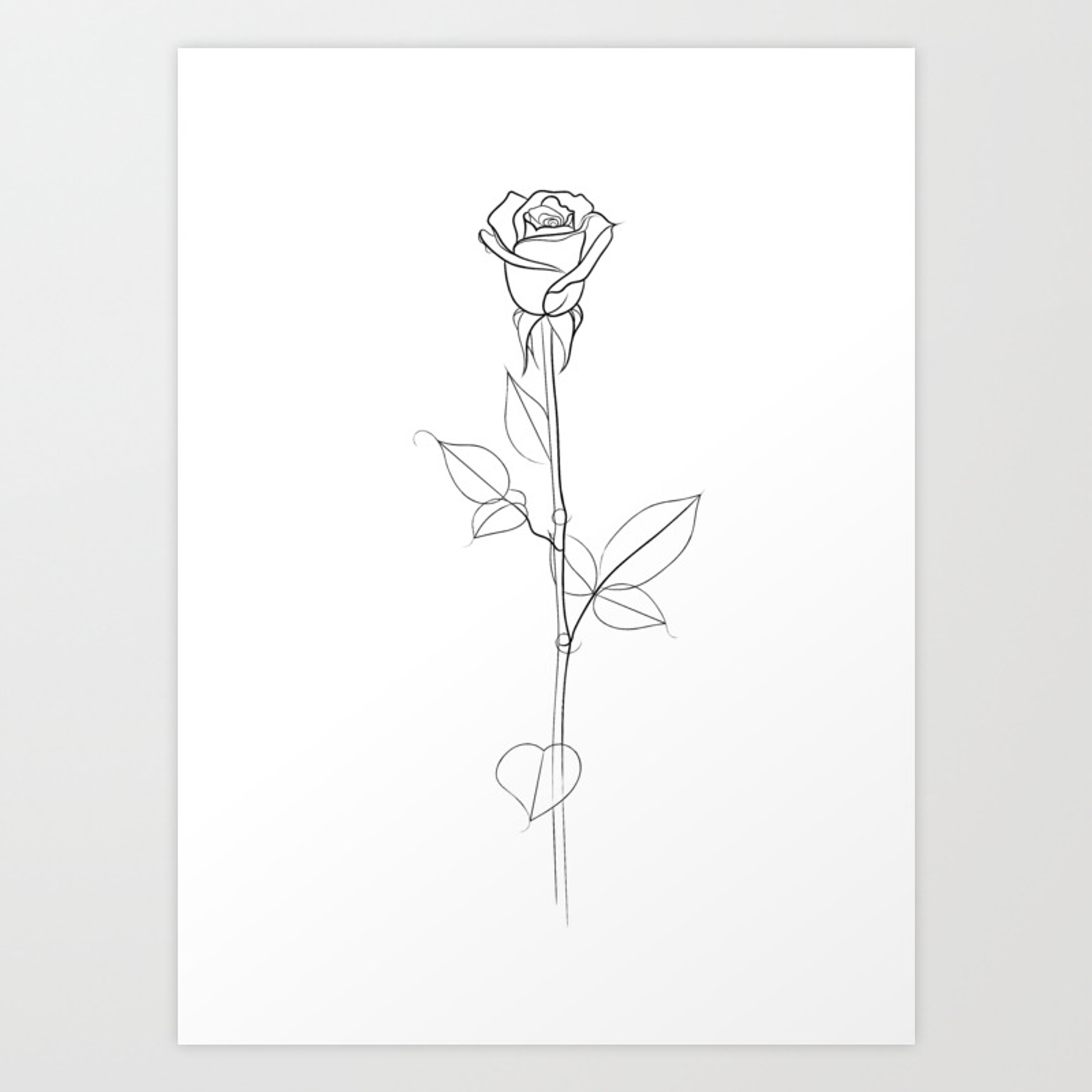 Single Rose Line Drawing Art Print By Artyadz Society6 It will be a very simple but realistic using curved lines continue drawing petals. single rose line drawing art print by artyadz
