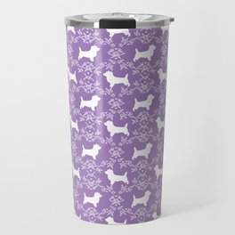 Cairn Terrier silhouette florals purple and white minimal dog breed basic dog pattern Travel Mug