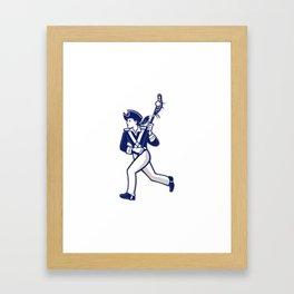 Female Patriot Lacrosse Player Mascot Framed Art Print