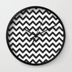 Funky chevron - black Wall Clock