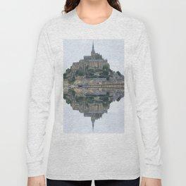 Mirrored landscape 1 Mont-Saint-Michel Long Sleeve T-shirt