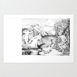 3 women bathing Art Print