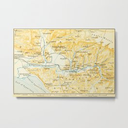 Vintage Map of Olympia Greece (1894) Metal Print