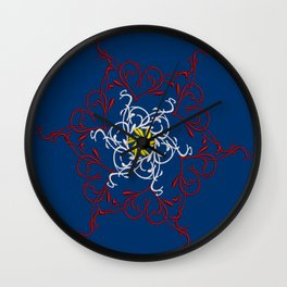 Mandala, Dark Teal, Red, White, Yellow Wall Clock