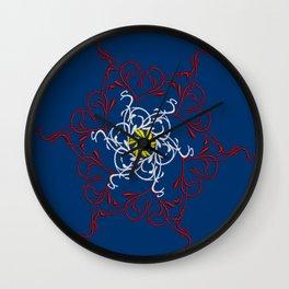 Mandala, Dark Teal, Red, White, Yellow Wall Clock