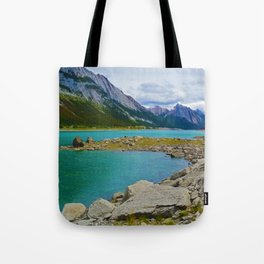 Medicine Lake in the Maligne Valley of Jasper National Park, Canada Tote Bag