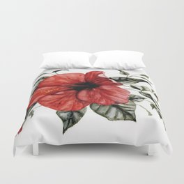 Blooming Red Hibiscus Duvet Cover